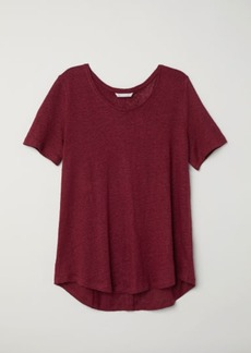 H&M H & M - Linen Scoop-neck Top - Red