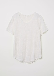H&M H & M - Linen Scoop-neck Top - White