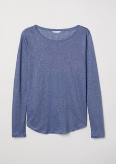 H&M H & M - Linen Top - Blue