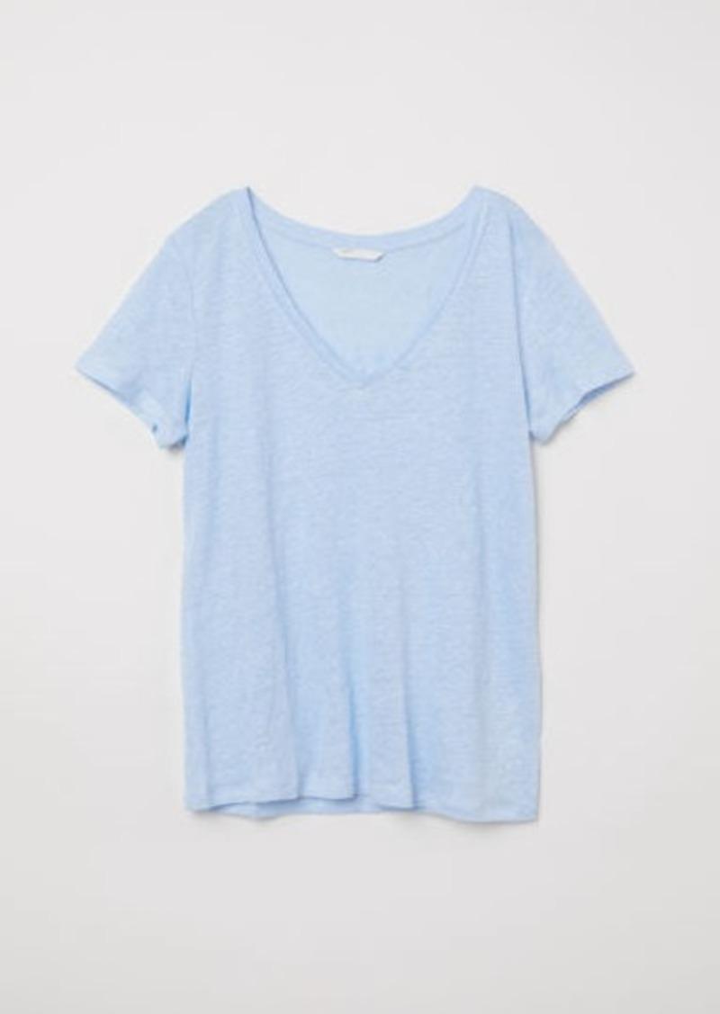 H&M H & M - Linen Top - Blue