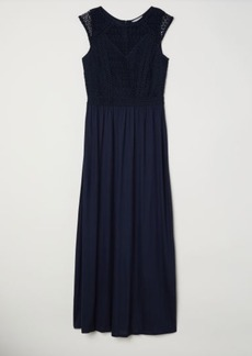 H&M H & M - Long Dress with Lace Bodice - Blue