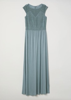 H&M H & M - Long Dress with Lace Bodice - Turquoise