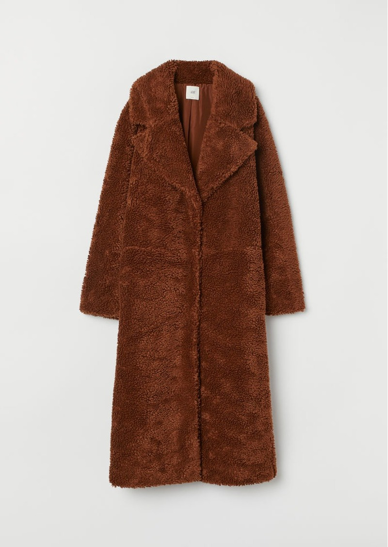 H&M H & M - Long Faux Shearling Coat - Beige