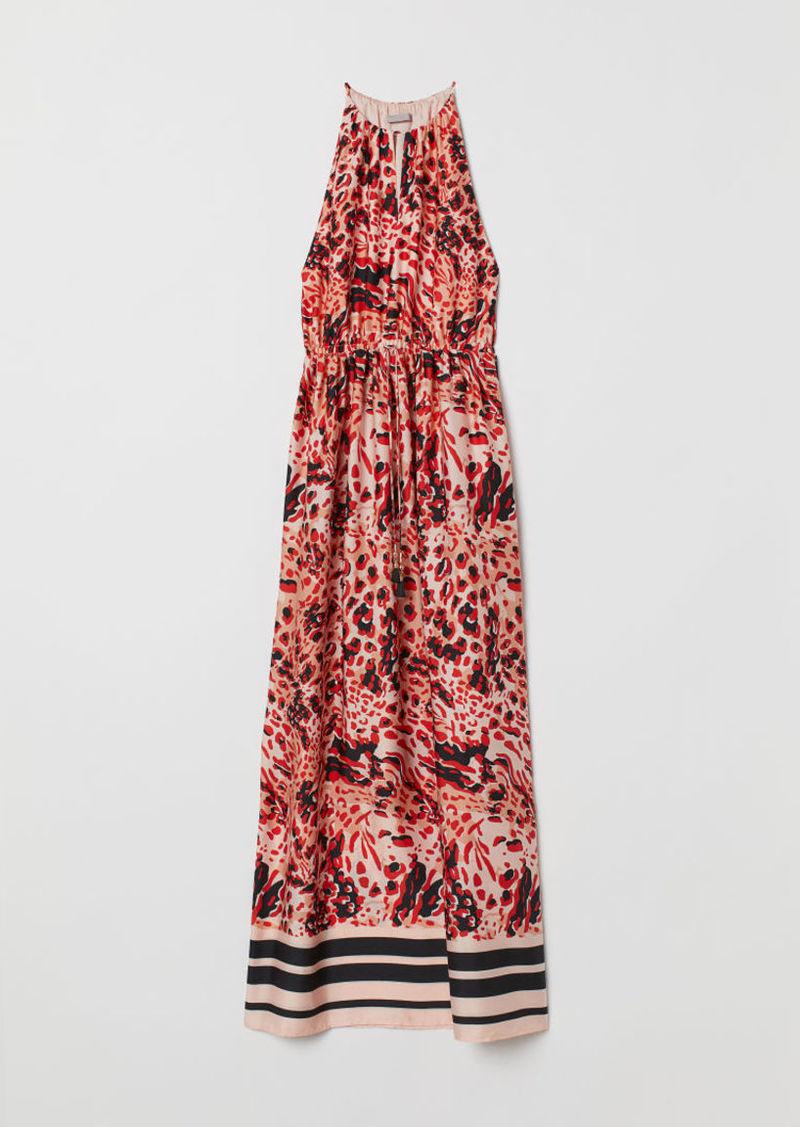 H&M H & M - Long Satin Dress - Pink