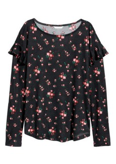 H&M H & M - Long-sleeved Flounced Top - Black