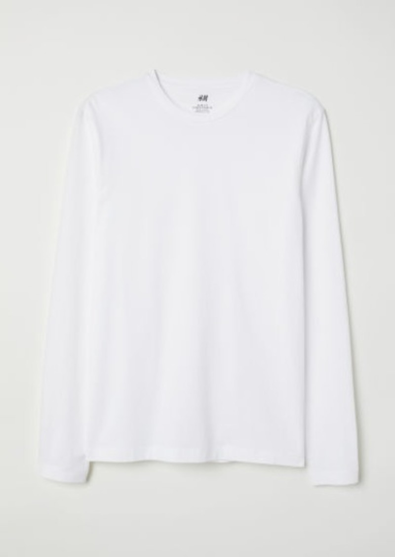 H&M H & M - Long-sleeved Jersey Shirt - White
