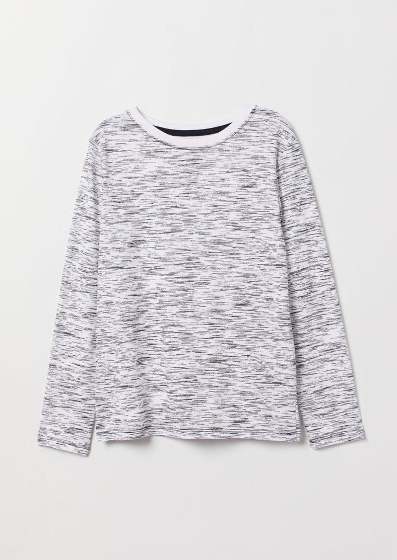 H&M H & M - Long-sleeved Jersey Shirt - White