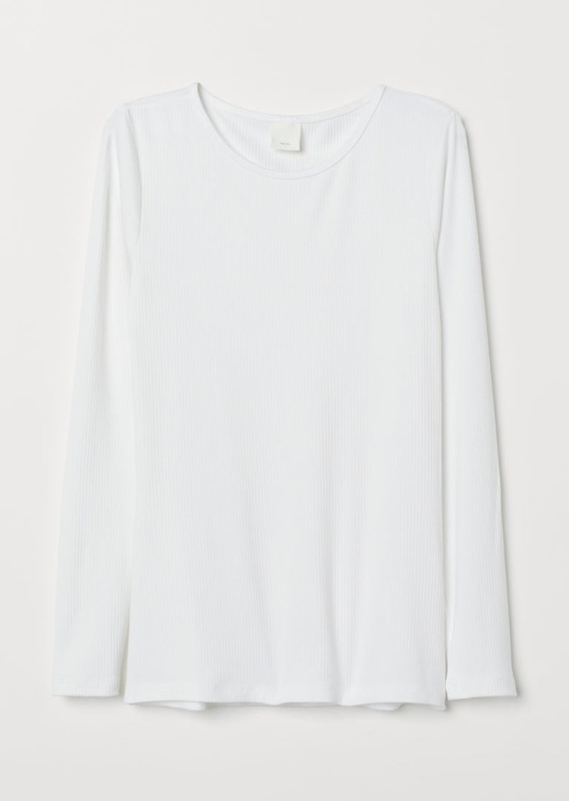 H&M H & M - Long-sleeved Jersey Top - White