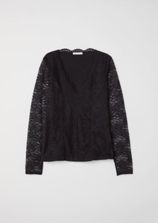 H&M H & M - Long-sleeved Lace Top - Black