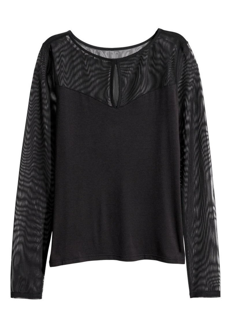 H&M H & M - Long-sleeved Top - Black