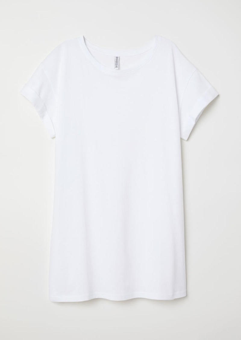 H & M - Long T-shirt - White