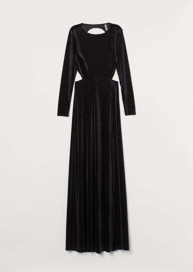 H&M H & M - Long Velour Dress - Black
