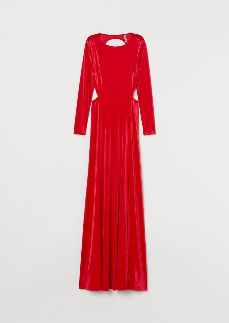 H&M H & M - Long Velour Dress - Red