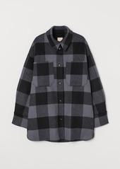 H&M H & M - Long Wool-blend Shirt Jacket - Gray