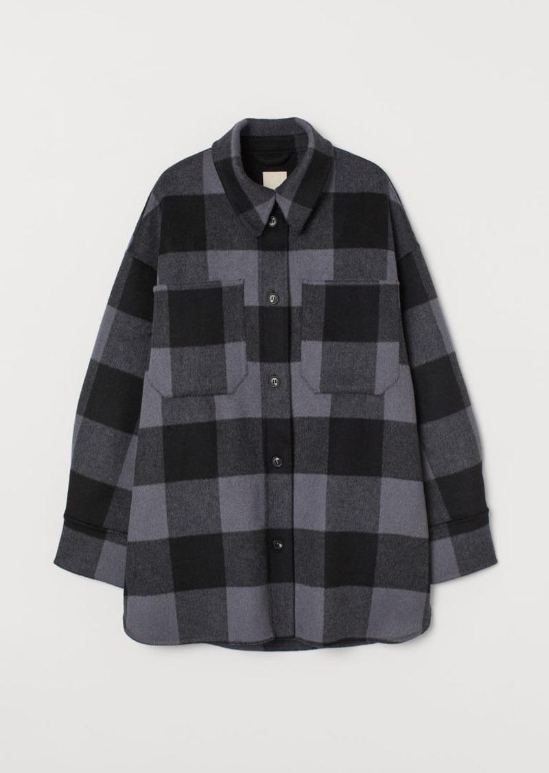 H & M - Long Wool-blend Shacket - Gray