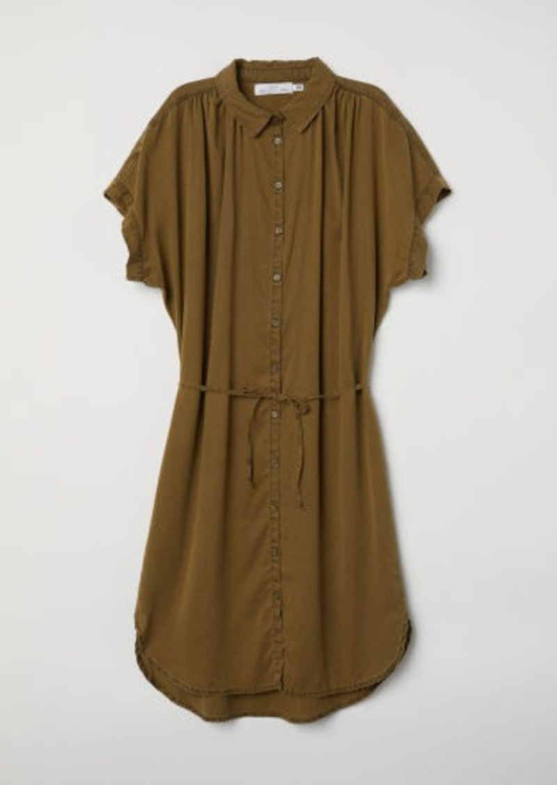 H & M - Lyocell Shirt Dress - Green