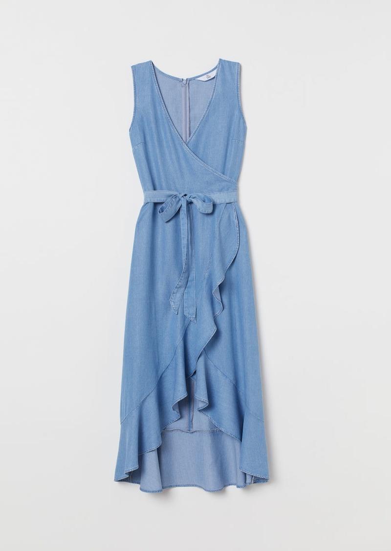 H&M H & M - Lyocell Wrap Dress - Blue