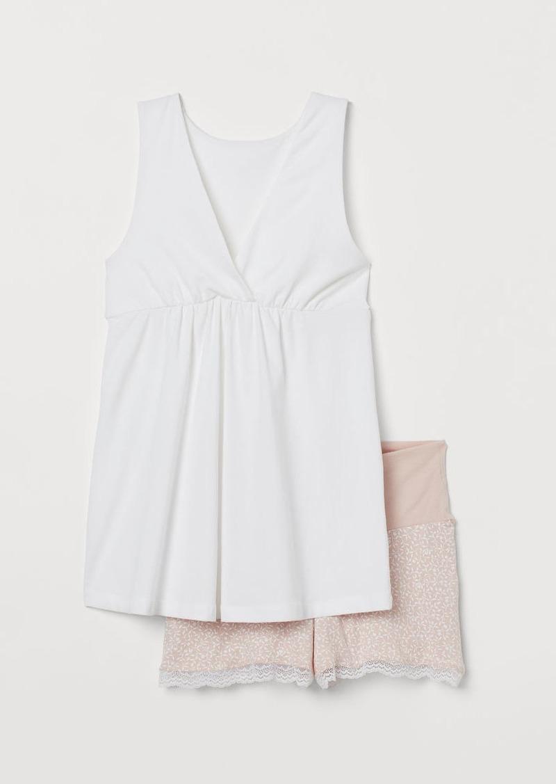 H&M H & M - MAMA Cotton Pajamas - White