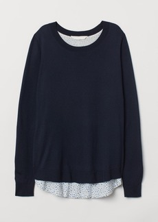 H&M H & M - MAMA Fine-knit Nursing Sweater - Blue