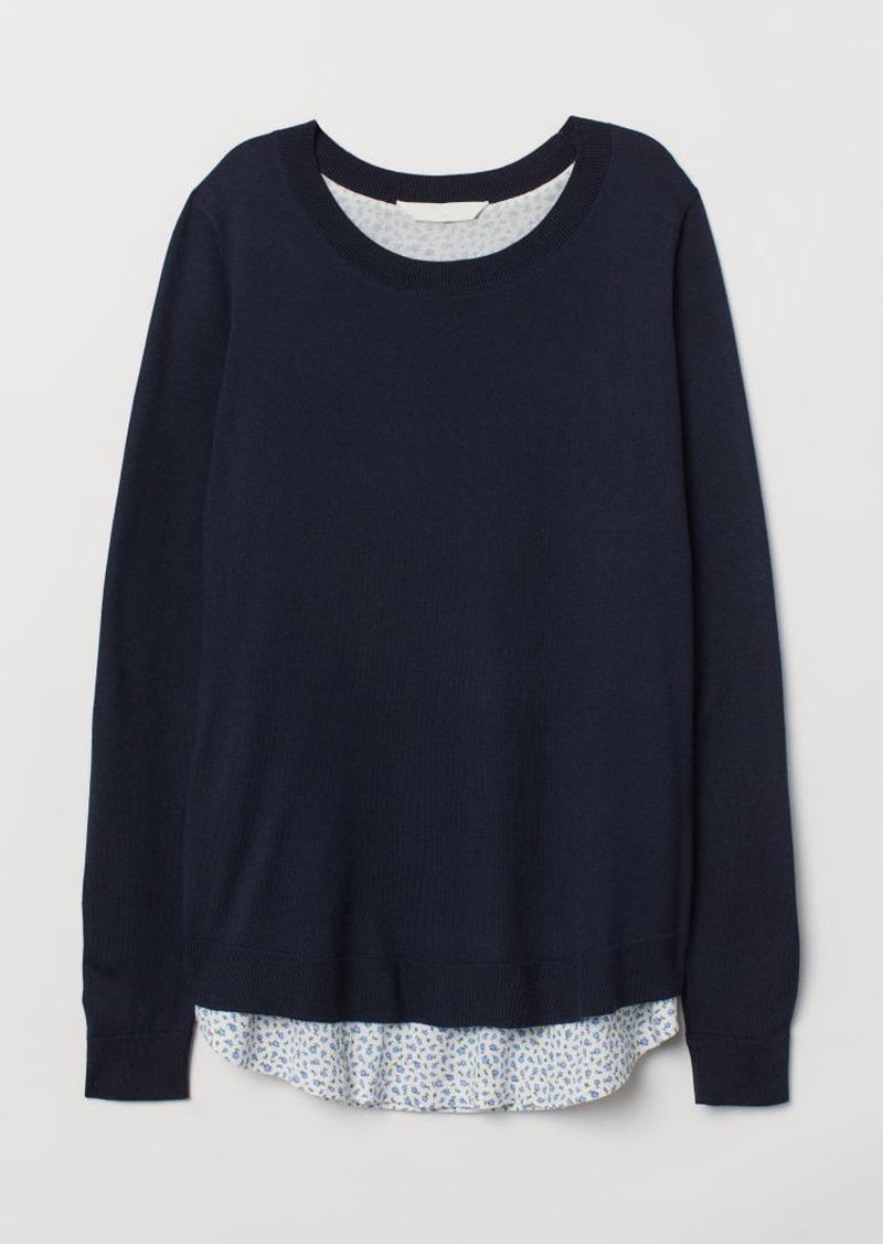 H&M H & M - MAMA Fine-knit Nursing Sweater - Blue