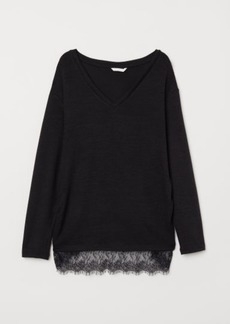 H&M H & M - MAMA Fine-knit Top - Black