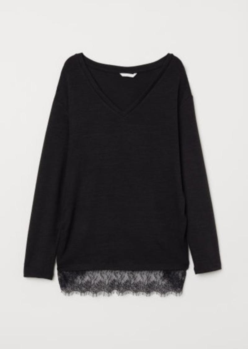 H&M H & M - MAMA Fine-knit Top - Black