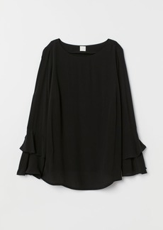 H&M H & M - MAMA Flounce-sleeved Blouse - Black