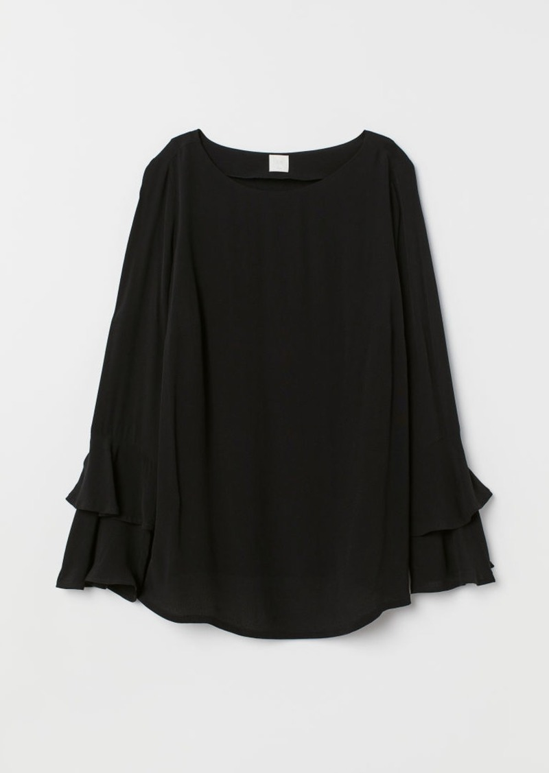 H&M H & M - MAMA Flounce-sleeved Blouse - Black