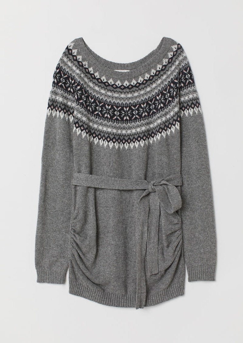 H&M H & M - MAMA Jacquard-knit Sweater - Gray