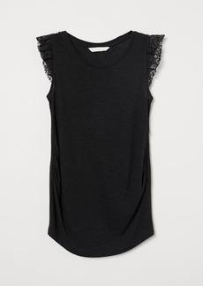 H&M H & M - MAMA Linen-blend Top - Black