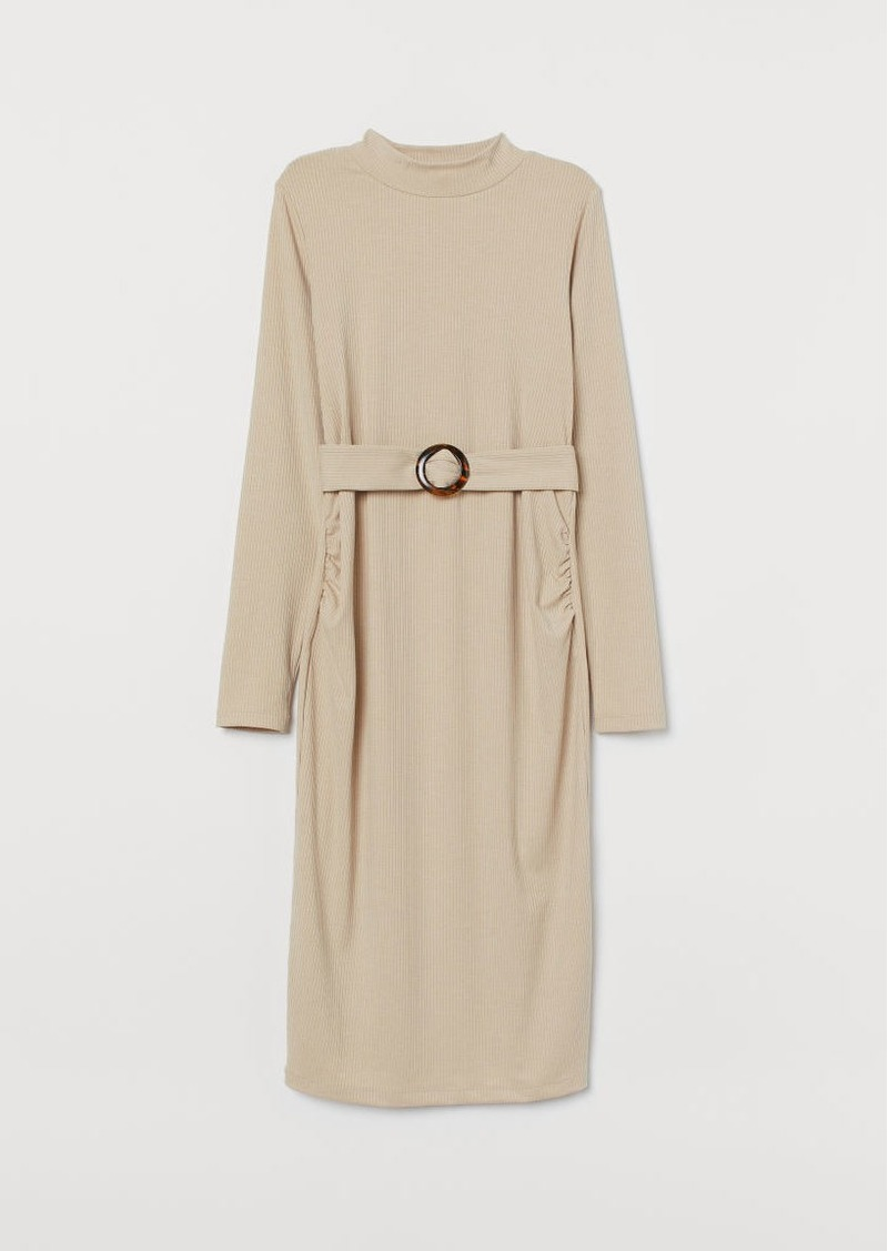 H&M H & M - MAMA Ribbed Jersey Dress - Beige