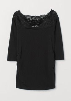 H&M H & M - MAMA Top with Lace - Black