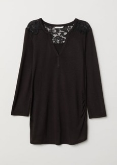 H&M H & M - MAMA Top with Lace Yoke - Black
