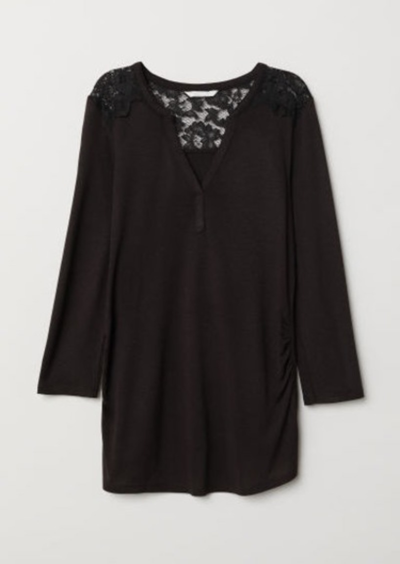 H&M H & M - MAMA Top with Lace Yoke - Black