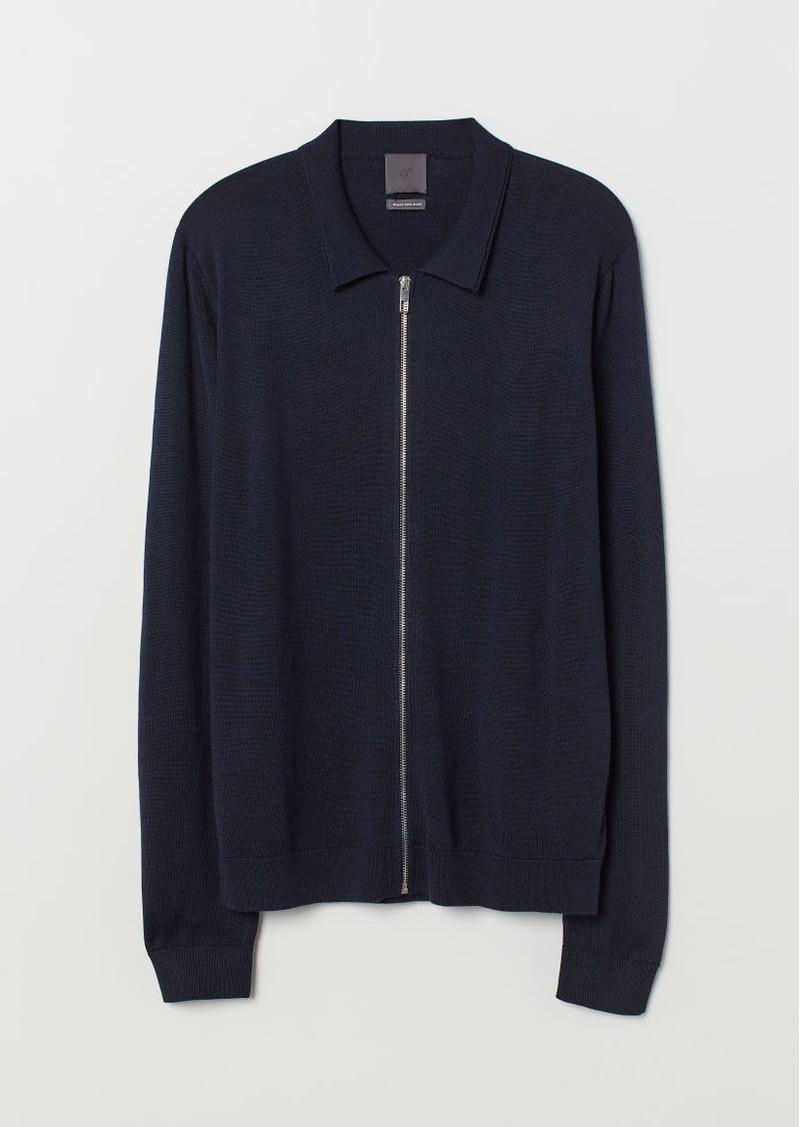 H&M H & M - Merino Wool-blend Cardigan - Blue