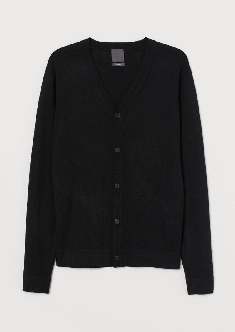 H&M H & M - Merino Wool Cardigan - Black