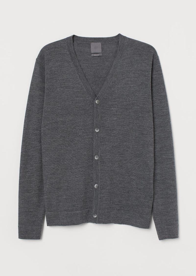H&M H & M - Merino Wool Cardigan - Gray