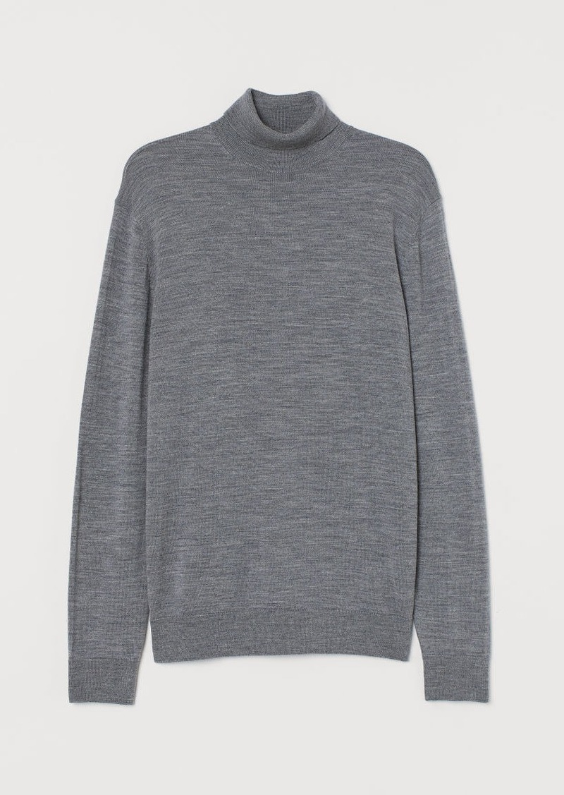 H&M H & M - Merino Wool Turtleneck Sweater - Gray