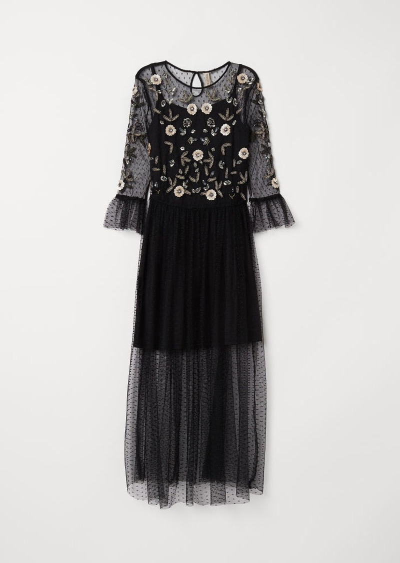H&M H & M - Mesh Dress with Embroidery - Black