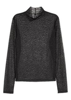 H&M H & M - Mesh Turtleneck Top - Black