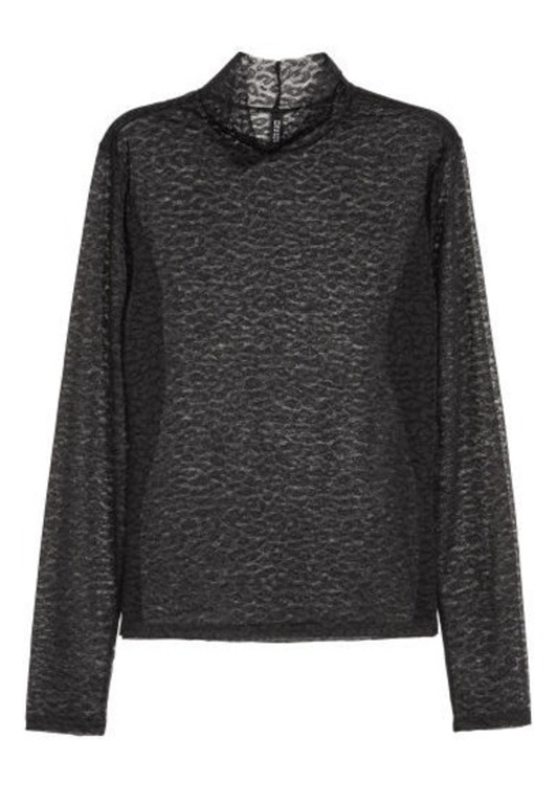 H&M H & M - Mesh Turtleneck Top - Black