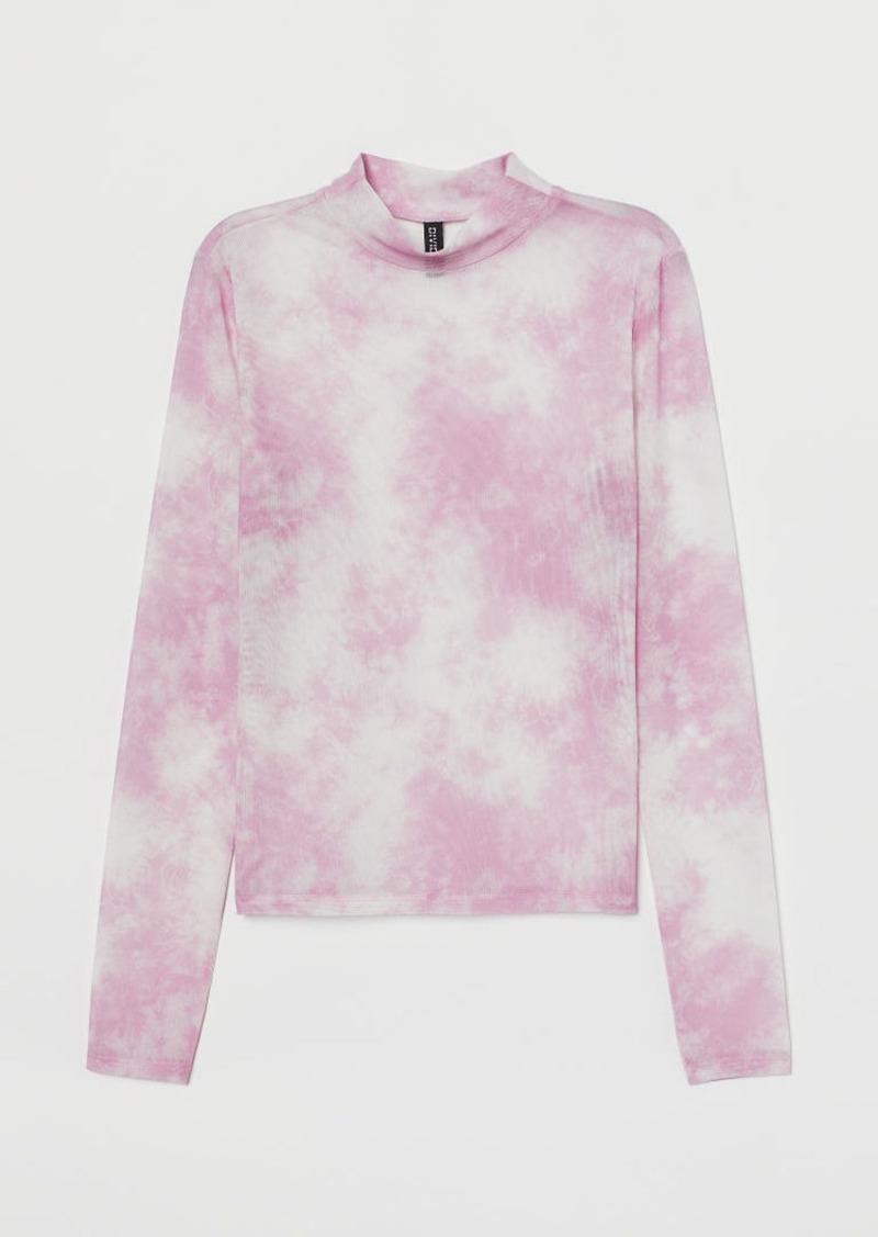 H&M H & M - Mock Turtleneck Mesh Top - Pink