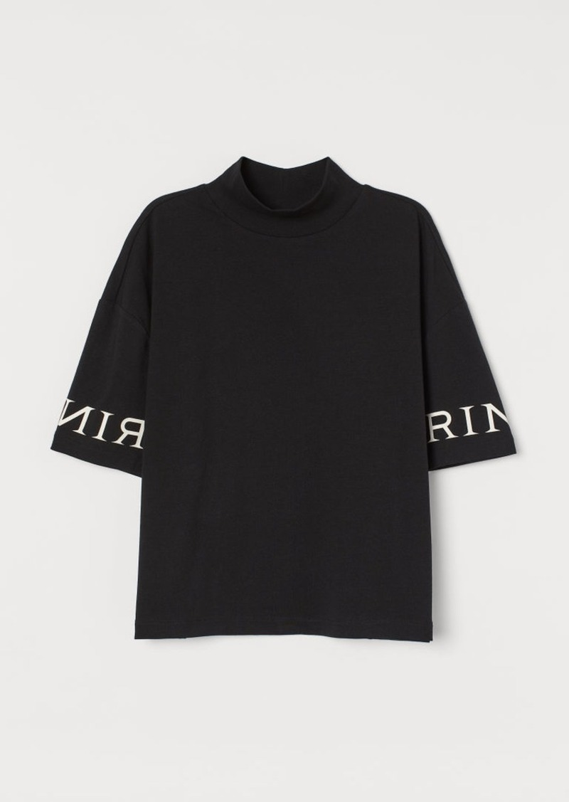 H&M H & M - Mock-turtleneck T-shirt - Black