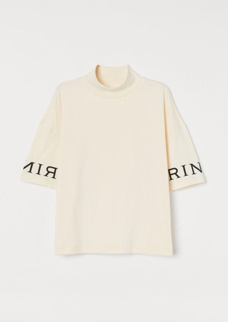 H&M H & M - Mock-turtleneck T-shirt - White