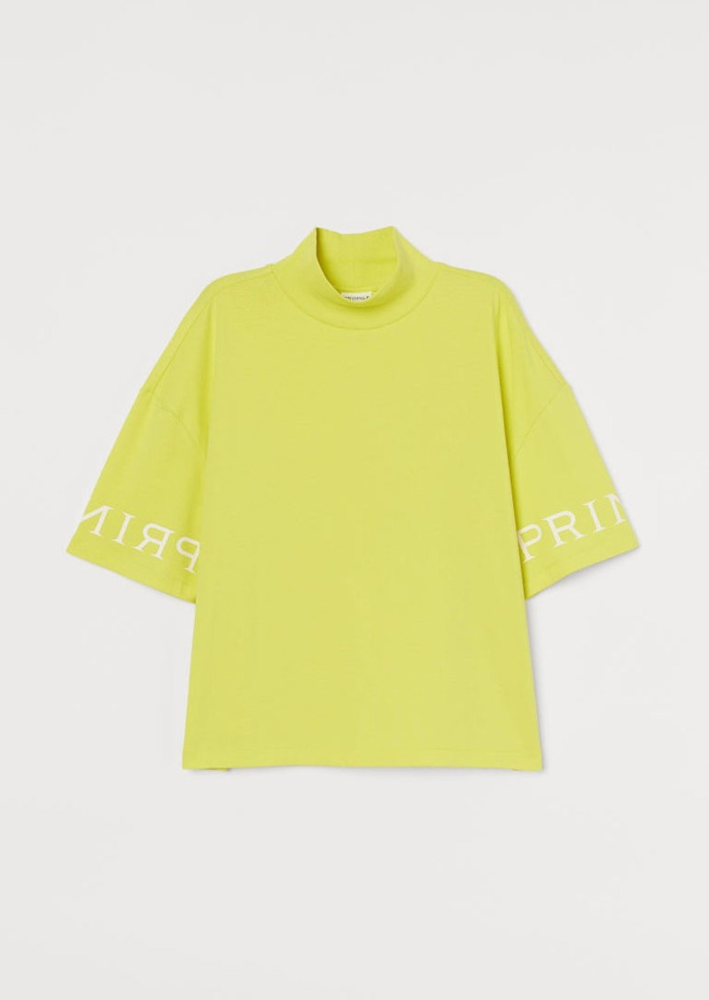 H&M H & M - Mock-turtleneck T-shirt - Yellow