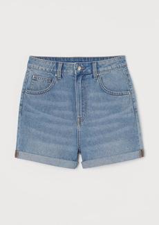 H&M H & M - Mom Fit Denim Shorts - Blue