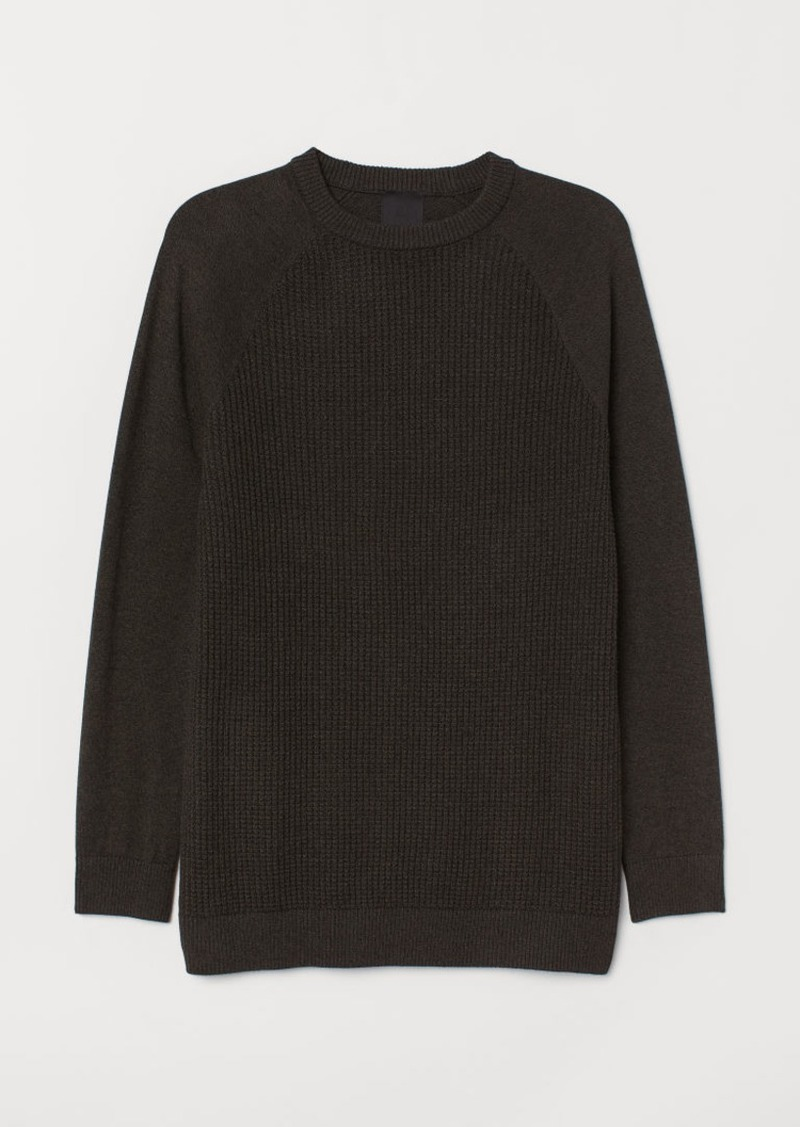 H&M H & M - Muscle Fit Knit Sweater - Green