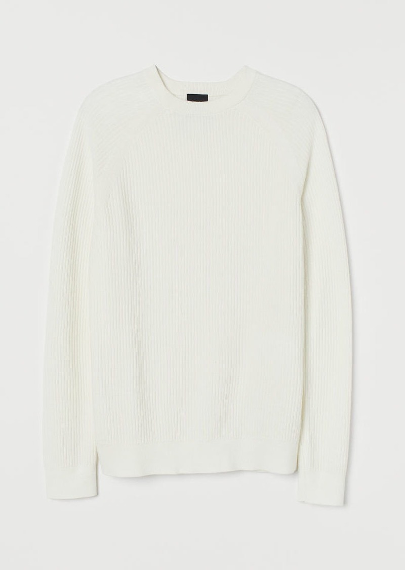 H&M H & M - Muscle Fit Knit Sweater - White