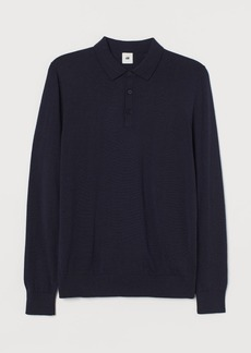 H&M H & M - Muscle Fit Wool Polo Shirt - Blue