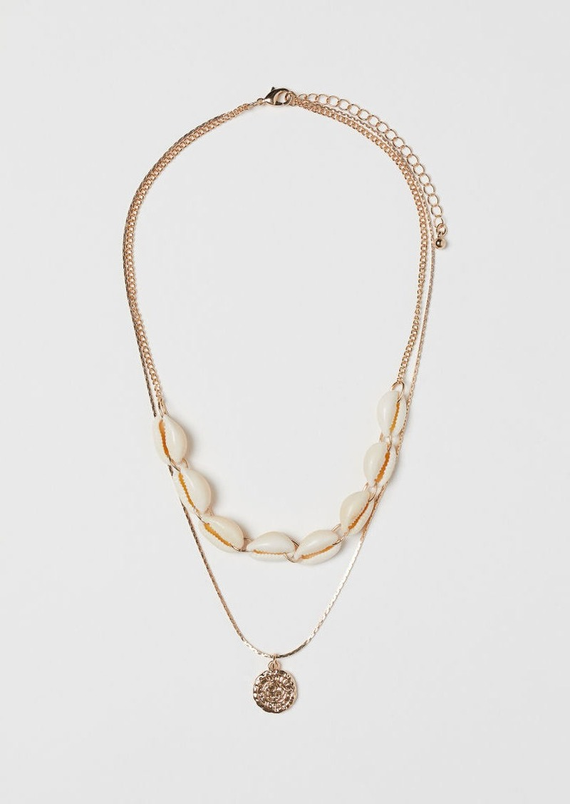 H & M - Necklace with Shells - Gold